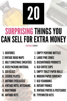 Here are 20 surprising items you can sell for extra money as a side hustle! This list is from the MoneyTalksNews website. For more extra money ideas, things to sell to make money from home on Etsy, eBay, at craft fairs, yard sales...things to sell that are handmade or homemade, click the link! #extramoneyfromhome #extramoneyideas #extramoneyonetsy #extramoneyonebay #extramoneycraftfairs #thingstosell #thingstosellhandmade #thingstosellhomemade Earn Money Easily, Ways To Earn Money, Earn Money From Home, Make Money Fast, Earn Money Online, Online Jobs, Empty Perfume Bottles, Making Money On Youtube, Money Machine
