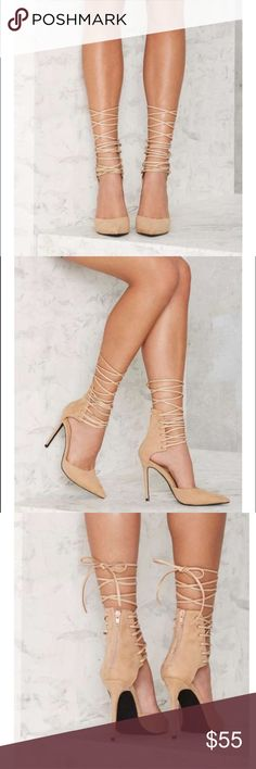 ✨ Nasty Gal lace up heels Sexy, strappy, lace up heels by Nasty Gal.  True to size.  In perfect condition, worn once. Nasty Gal Shoes Heels