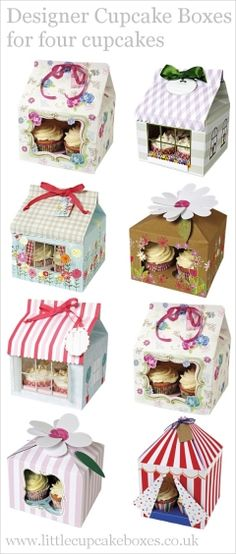 designer cupcake boxes for 4 cupcakes  http://www.littlecupcakeboxes.co.uk/cupcakeboxes/Cupcake-Boxes-for-Special-Gifts.html  #cupcake-boxes