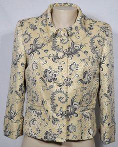 LIZ CLAIBORNE Tan/Black/Gold Patterned Jacket Blazer 8 3/4 Sleeves Lined #LizClaiborne #Blazer