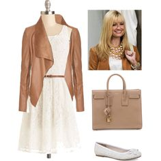 Caroline Channing- 2 Broke Girls by shootfortheskyy on Polyvore featuring polyvore, fashion, style, Jane Norman, Express, Yves Saint Laurent, contest, chic, leatherjacket and whitedress