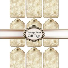 Digital Gift Tags. Brown Paper Distressed by Silvercrystalscouk
