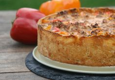 Paprika Hackfleisch Kuchen Quiches, Finger Foods, Cornbread, Bread Recipes, Cheesecake, Pizza, Low Carb, Pudding, Snacks