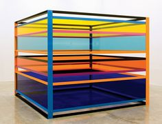 Liam Gillick, Sometimes They Worked in Groups of Three, 2008, powder coated aluminum and transparent red Plexiglas. Via Casey Kaplan Gallery.
