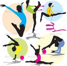 Buy Silhouettes rhythmic gymnastics by milyana on GraphicRiver. set editable and scalable vector silhouettes rhythmic gymnastics Artistic Gymnastics, Gymnastics Girls, Rhythmic Gymnastics, Ballet Body, Shadow Silhouette, Medical Illustration, Royalty Free Photos, Art Images, Clip Art