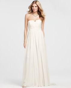 Ann Taylor - AT Petite Dresses - Petite Vintage Silk Strapless Wedding Dress