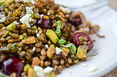 freekah pilaf with pistachios, cherries, and spiced carmelized onions!  Love wheat berries!!