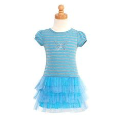 Turquoise Dress Size 3t Grey Stripe Butterfly Sequin Spring Girl