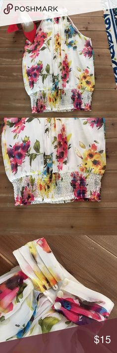 Ruffle shiffon turtle neck blouse NWOT. Sleeveless and very fresh and breezy. Neck ties at the back as pictured. Tops Blouses