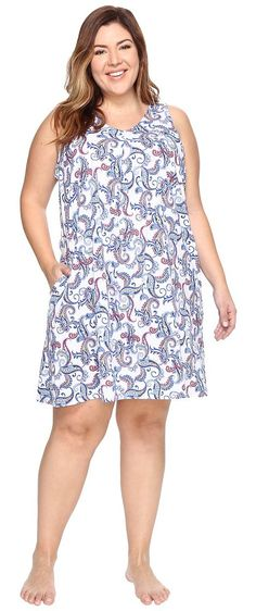 LAUREN Ralph Lauren Plus Size Short Sleep Gown (White Paisley) Women's Pajama - LAUREN Ralph Lauren, Plus Size Short Sleep Gown, 8121351X-WPSLY, Apparel Top Sleepwear, Sleepwear, Top, Apparel, Clothes Clothing, Gift - Outfit Ideas And Street Style 2017