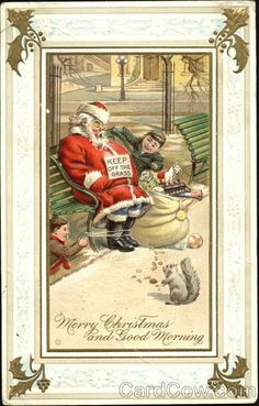 Santa On Park Bench With Smiling Boys and Squirrel Series 567 Merry Christmas and Good Morning