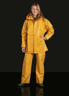 Rain jacket from classic Guycotten Pvc Raincoat, Yellow Raincoat, Shiny Happy People, Rain Suit, Country Wear, Rain Gear, Pvc Coat, Raincoats For Women, Hipster
