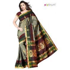 Dark Grey Sharp Designer Zari Border Saree PS343 - Online Shopping for Silk Sarees by Platinum