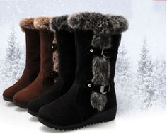 a9994aef8c88 Details about Winter Women s Flats Snow Boots Casual Thicken Warm Scrub  Suede Fur Shoes US4-9