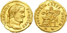 Maximinus II (305-308). Aureus, 5.11 g, 21 mm, 6 h, Aquileia, 305-306. MAXIMINV – S NOB CAES. Laureate head of Maximinus II right. / CONCORDIA CAESS NOSTR. Concordia seated left on high-backed chair, holding patera and cornuacopiae. A Q in exergue. Unpublished, but see RIC (Aquileia) 41a, b for different emperors as Augusti; also cf. RIC (Ticinum) 49a, b for Severus II and Maximinus (Ticinum). Natural flan crack and two marks on edge (ancient mounting?). Lustrous. Superb EF.