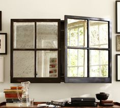 LOVE this, whether or not it's used for a flat screen -- new from Pottery Barn: Mirror Cabinet Media Solution