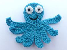 Crochet applique, 1 bright turquoise crochet applique octopus cards, scrapbooks, appliques and embellishments