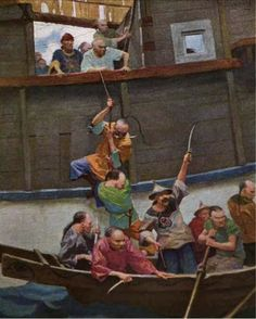 """N.C. WYETH - N' the pirates, seein' how it was, puts off in boats. for """"The Rakish Brigantine"""" by James B. Connolly - Aug 1914 Scribner's Magazine - item by kihm2.files.wordpress Nc Wyeth, Howard Pyle, Pictures To Draw, Drawing Pictures, Traditional Paintings, Treasure Island, Magazine Art, American Artists, Illustrators"""