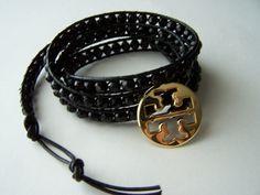 tori burch bracelets | Tory Burch Upcycled Black Glass Czech Beaded Leather Wrap Bracelet
