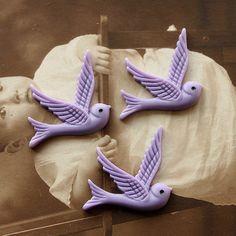 Polymer Clay Perlen - 20pcs Vintage-Stil Vögel Cabochon - 32x24mm - ein Designerstück von chengxun bei DaWanda