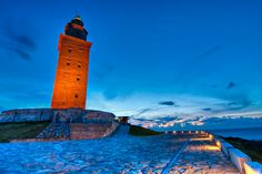 """Hercules Tower - La Coruña(Spain)   """"The lighthouse is almost 1900 years old, standing 185 feet (57 meters) high, overlooking the North Atlantic coast of Spain. It is the oldest active Roman lighthouse in the world"""""""