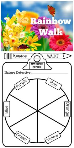 Rainbow Color Walk Take learning outdoors with this fun nature walk, where children search fo Kindergarten Art Projects, Kindergarten Lesson Plans, Preschool Lessons, Kindergarten Activities, Kindergarten Literacy, Math Lessons, Rainbow Art, Rainbow Colors, Rainbow Crafts