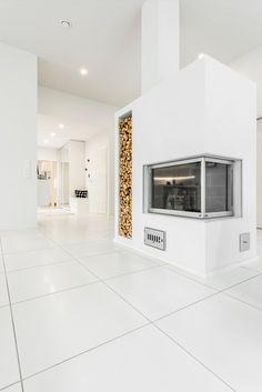 CUBO. Lattiassa Nova Arquitectura valkoinen M60x60 cm, matta. #pukkilalaatat #pukkila Modern Kitchens, Nova, Kitchen Appliances, Ceiling, Flooring, Living Room, Future, Decoration, Interior