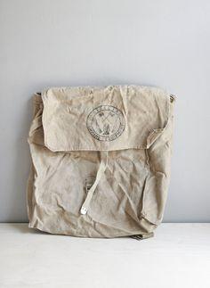 Vintage canvas knapsack.