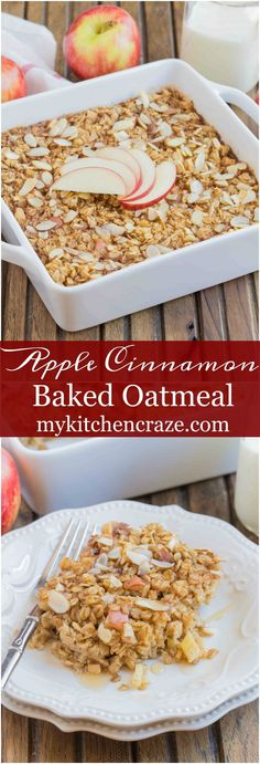 Apple Cinnamon Baked Oatmeal is a delicious and hearty breakfast that will leave you feeling full for hours. Easy to whip up on a busy morning, or enjoy it on a Baked Oatmeal Recipes, Apple Recipes, Baked Oats, Korean Recipes, Quick Recipes, Italian Recipes, Fun Desserts, Dessert Recipes, Healthier Desserts