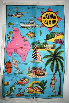 Hayman Island Queensland Tea Towel - Vintage Island in the Sun - New!! Deep Fishing, Sun News, Swiming Pool, Moving Boxes, Retro Flowers, Tea Towels, Psychedelic, Etsy Seller, Old Things
