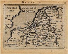 Gallia Belgica, een antieke kaart van België, Nederland, Luxemburg door Abraham Ortelius uit 1601 Map Layout, Kingdom Of The Netherlands, Carolingian, Old Maps, Historical Maps, In Ancient Times, Knights Templar, Science Nature, Art History