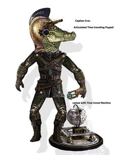 Steampunk Articulated Puppet time traveler Captain Croc DIY Paper Doll