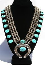Navajo Red Mountain Turquoise & Silver Squash Blossom Necklace - Orville Tsinnie