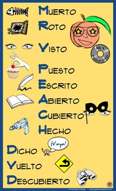 FREE MR V. Peach DVD Poster - Teach the Spanish Irregular Participles with this fun mnemonic. Spanish Basics, Ap Spanish, Spanish Grammar, Spanish Vocabulary, Spanish Language Learning, Spanish Teacher, Spanish Classroom, How To Speak Spanish, Learn Spanish