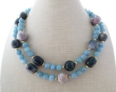 Green agate necklace chunky necklace blue jade necklace