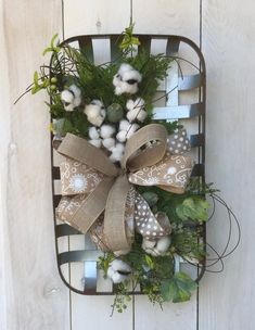Tobacco basket with boxwood cotton boll and lavender wreath tobacco basket boxwood wreath cotton boll wreath lavender wreath farmhouse