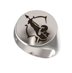 Signet Ring, Mens Ring, Personalized Ring, Zodiac Sign, Sagittarius Symbol, Horoscope Emblems, The Archer, Engraved Ring, 925 Sterling https://www.etsy.com/shop/Ronninfinity