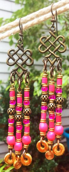 Hot Pink, Gold and Bronze Chandelier Statement Earrings  $90 click to purchase