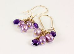 Amethyst and Freshwater Pearl Earrings by NancysCrystalFantasi, $50.00