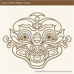 한국의 도깨비 문양 패턴디자인. 한국 전통문양 패턴 디자인 시리즈. (BPTD020251) Korea Goblin Pattern Design. Korean traditional Design Series. Copyrightⓒ2000-2014 Boians.com designed by Boians Cho Joo Young.