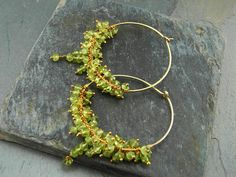 Neat use or peridot beads. Vermeil (gold over sterling)   Inspirational Yoga Jewelry- Meaningful Jewelry Gifts-Peridot Gold Hoops Large - Prosperity