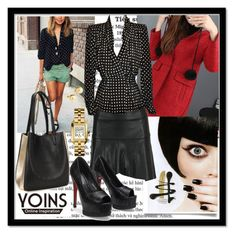 """""""Blouse with Polka Dot by Yoins"""" by mamiigou ❤ liked on Polyvore featuring Givenchy, Tory Burch and Yoko London"""