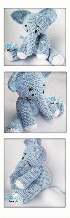 Amigurumi Pattern - Elephant Crochet Pattern, amigurumi animal, blue elephant https://www.etsy.com/listing/120786642/amigurumi-crochet-pattern-stuffed?ref=shop_home_active_23