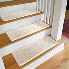 Carpet Stair Treads  Protect wooden stairs from wear with machine washable stair treads.  All you have to do is lay these stair treads in place to prevent scratches and wear from damaging your wood steps. They also make the steps easier for pets and kids.
