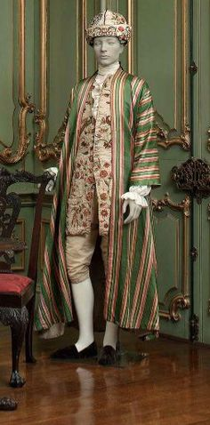 Circa 1760s Striped Banyan over a flowered waistcoat and silk breeches. At-home wear for the layabout Aristo.