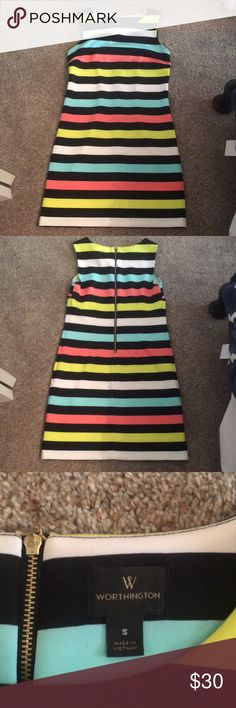 Bright Striped Tank Dress Striped dress made out of a lightweight, stretchy scuba-ish material, super comfy! Only worn once and in great condition. Please let me know if you have any questions or want more pictures and check out my closet to bundle and save!! Worthington Dresses