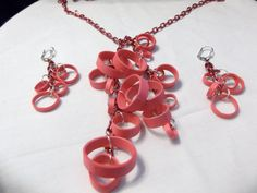 Pink Paper Quilled Paper Lariat Necklace and Earrings by SingOn, $20.00