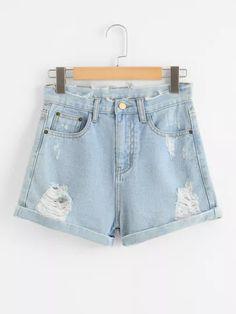 Raw Hem Denim Shorts