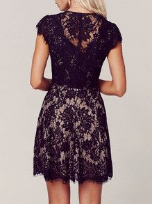 Beautiful for a summer wedding! Love the black lace with nude underlay. The print of the lace is perfect as some can look semi-granny.