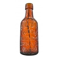 hard to find late nineteenth century privy dug and intact amber blobtop bottle fabricated for the chicago consolidated bottling company